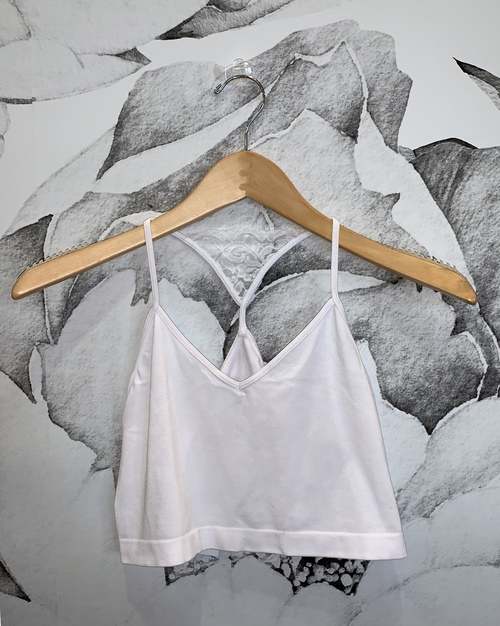 V-Neck Cami w/ Lace Back Detail White