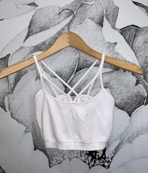 Multi Strap Crop Cami White