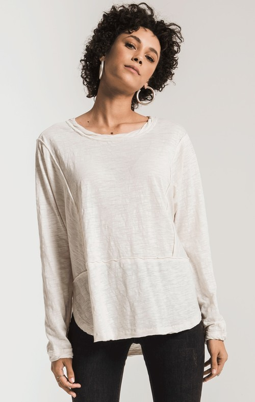 The Champagne Mist Airy Slub Long Sleeve Top