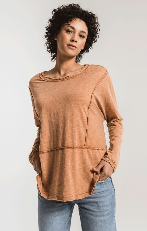 The Warm Wood Airy Slub Long Sleeve Top