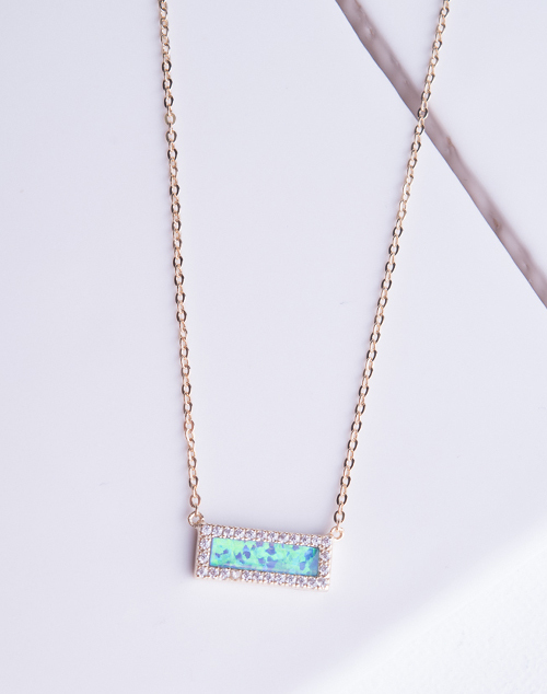 Blue Opal CZ Halo Rectangle Necklace