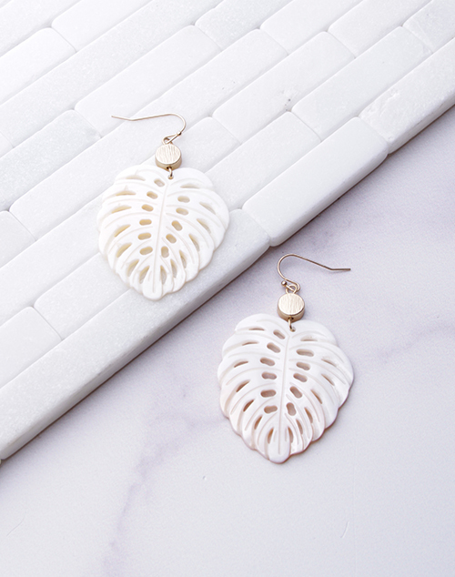 White Shell Leaf Dangle