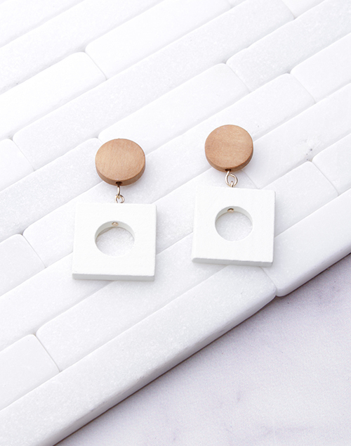 White Square Retro Dangle