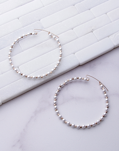 Pearl & Gold Beaded Hoop