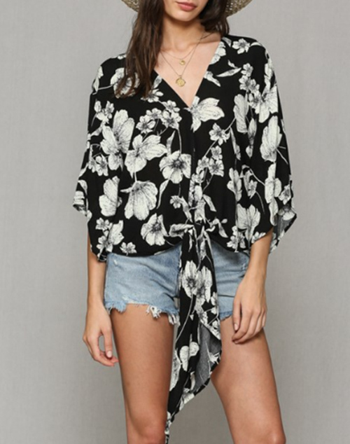 Floral Print Wide Short Sleeve Front Tie Top