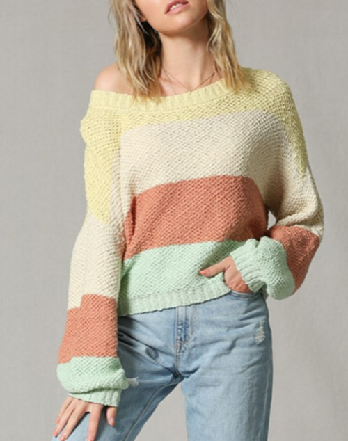 Long Sleeve Color Block Sweater