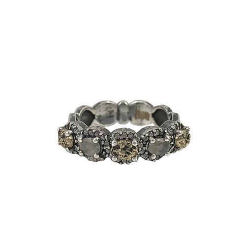 Vintage Silver Hati Labradorite & Coin Ring