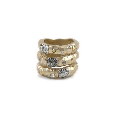 Gold 3 Row Coin Ring