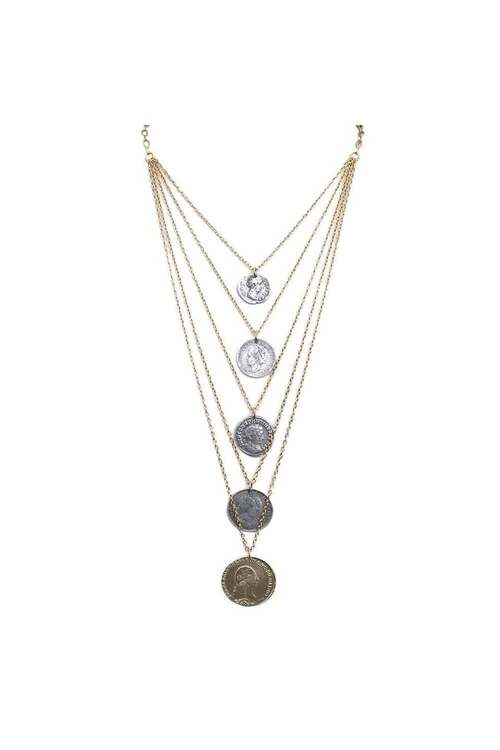 Gold 5 Tier Dynasty Multi Chain Necklace