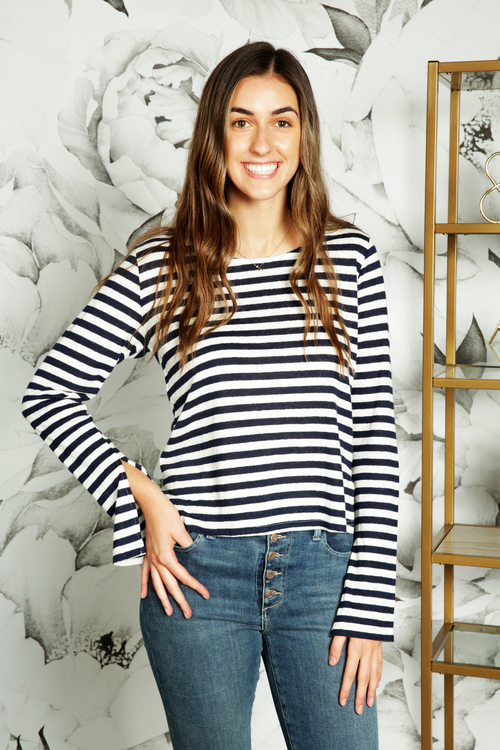 Stripe Linen High/Low Slub