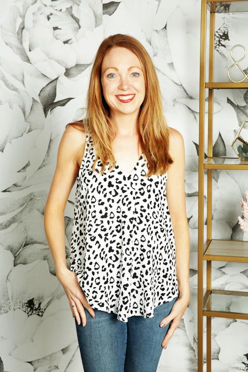 Leopard Print Surplice Blouse