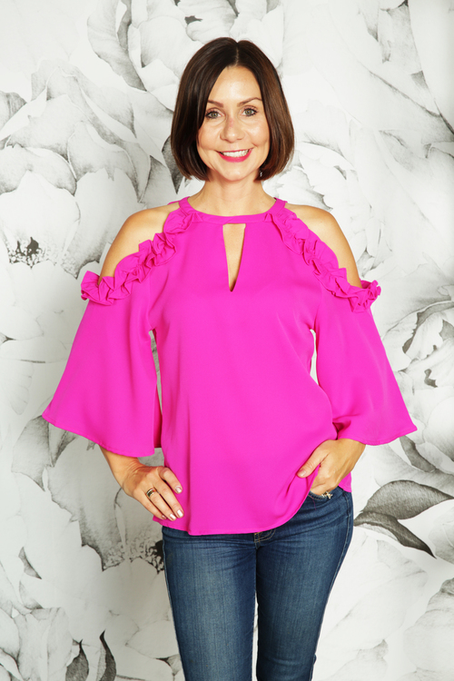 Flora Ruffled Cold Shoulder Blouse