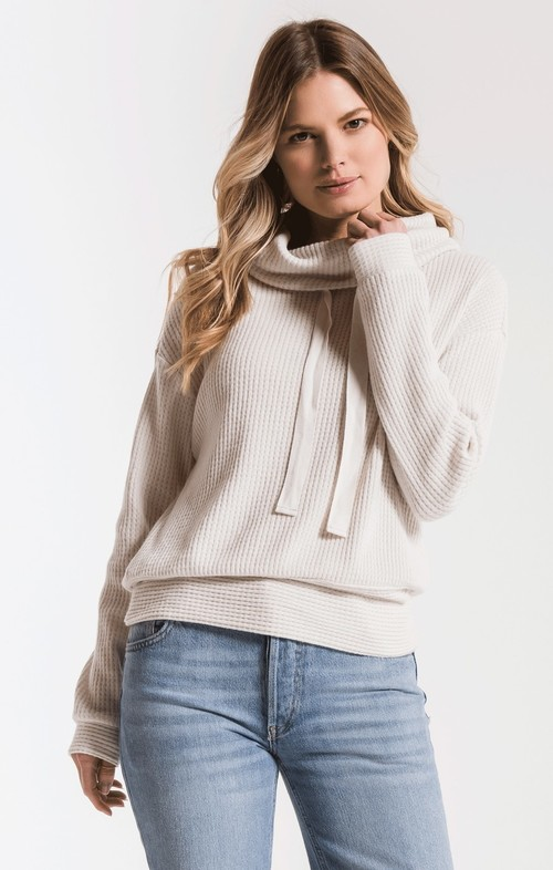 The Champagne Mist Cowl NK Waffle Thermal Top