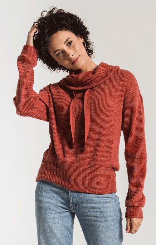 The Mesa Red Cowl NK Waffle Thermal Top