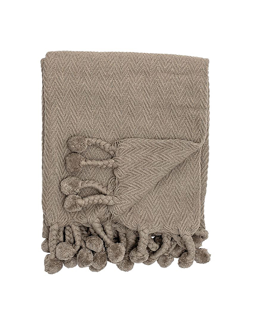Cotton Woven Throw With Poms - Grey