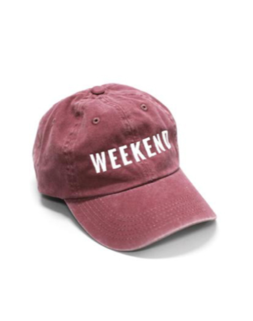 Weekend Embroidered Hat - Burgundy
