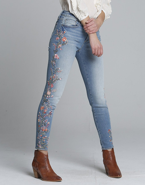 Jackie Skinny Pink Floral Embroidered Sides Denim