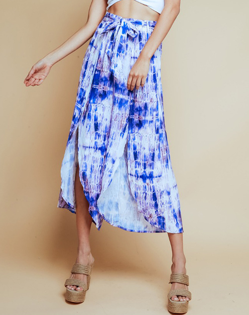 Tie Dye Belted Cropped Pants