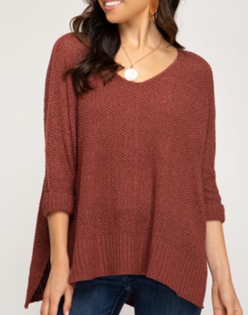 3/4 Cuffed Sleeve Hi-Low Sweater