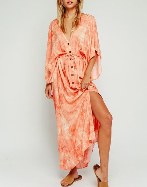 Button Up Short Sleeve Maxi Dress