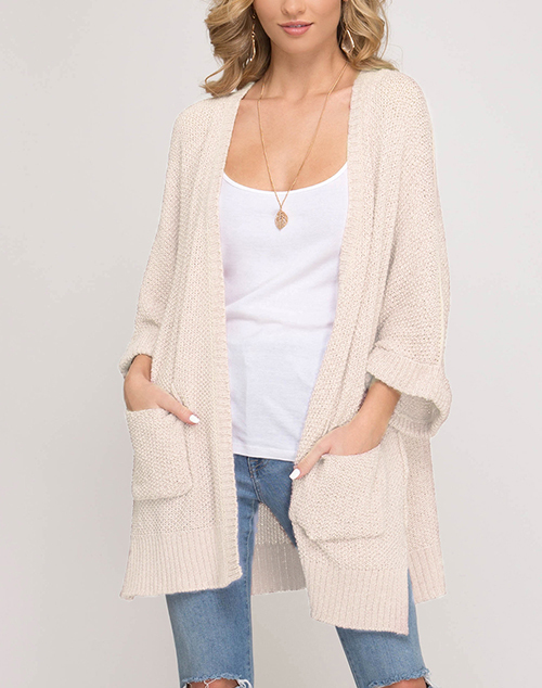 Half Sleeve Open Cardigan With Pockets