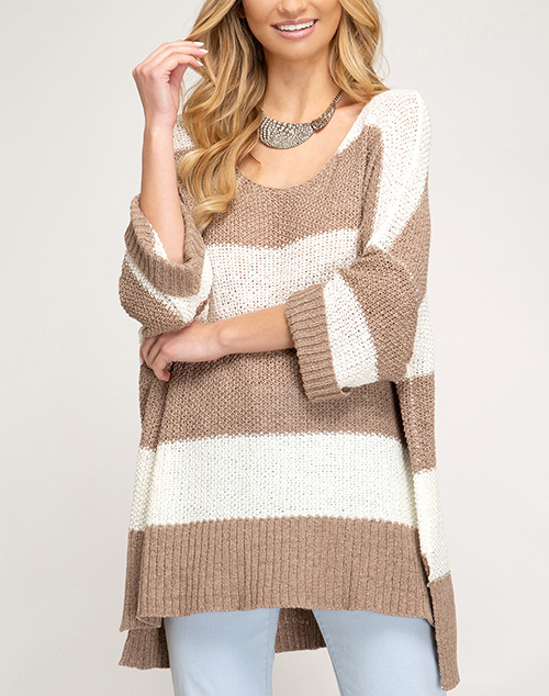 3/4 Cuffed Sleeve Striped Sweater