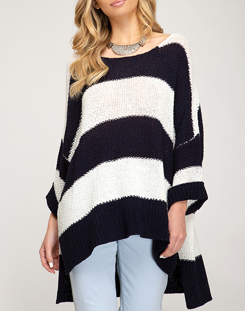3/4 Cuffed Sleeve Striped Sweater