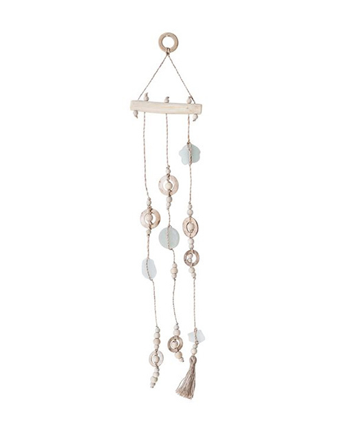 Sea Glass & Abaca Wood Hanging Wind Chime