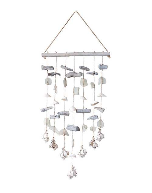 Sea Glass Abaca Wood & Shell Wind Chime