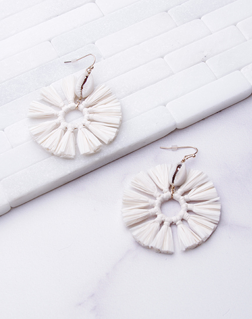 Ivory Tassel Puka Shell Dangle Earring