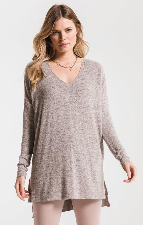 The Marled Sweater Knit V Neck Tunic