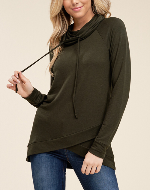 Longsleeve Wrap Front Terry Top