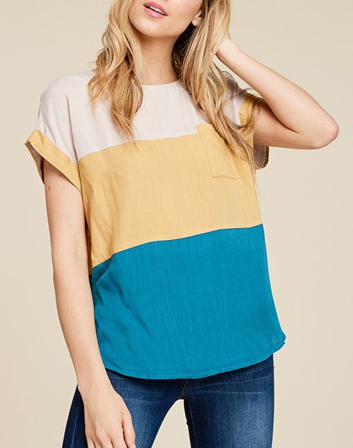 Round Neck Tri Color Top