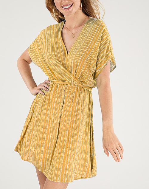 V Neck Twisted Tie Waist Stripe Dress