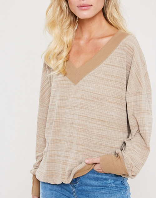 Oversized V Neck Knit Top