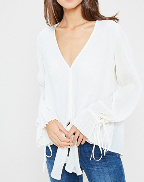 Self Tie V Neck Long Sleeve Blouse
