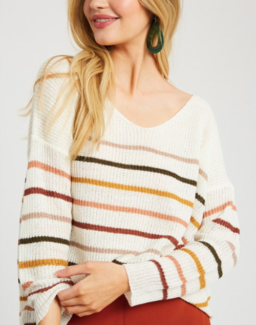 Stripe Pullover Loose Fit Sweater