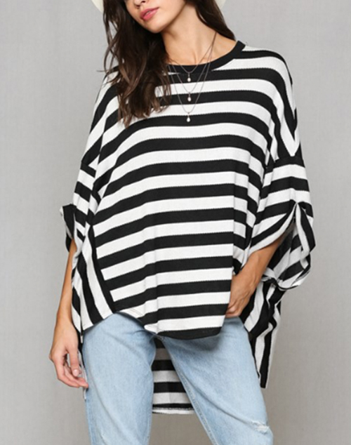 Rayon  Striped Over Size Top