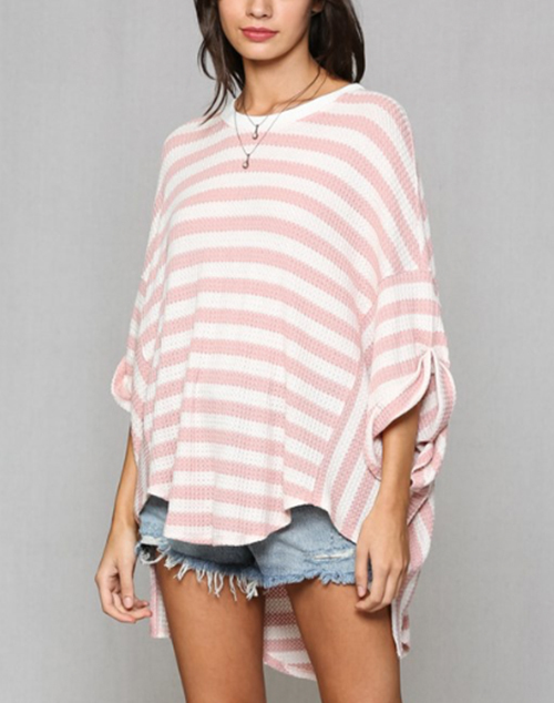 Striped Waffle Thermo Oversized Top
