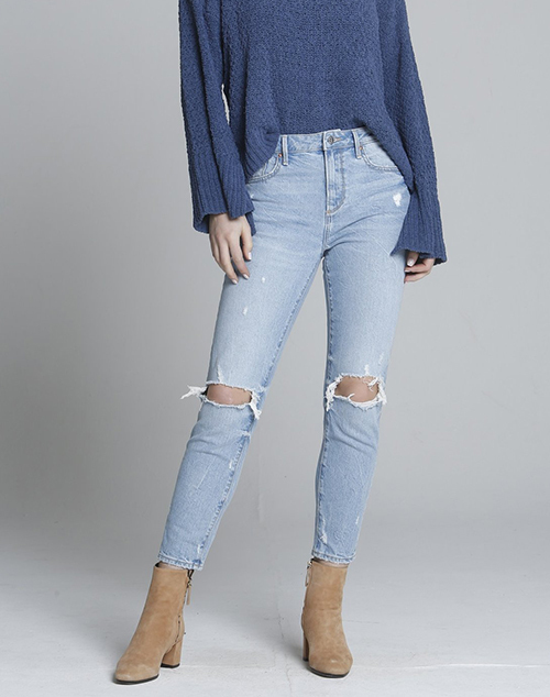 Mid Rise Distressed Denim