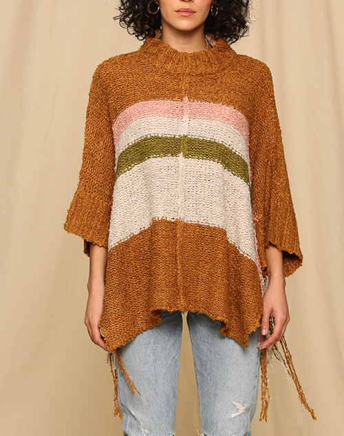 Knitted Striped Sweater Poncho