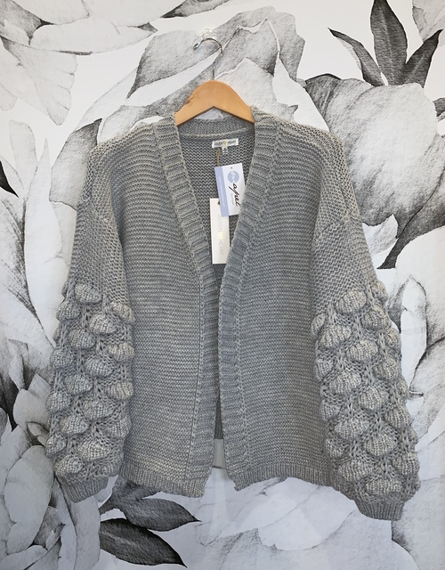 Rustic Cable Knit Sleeve Cardigan