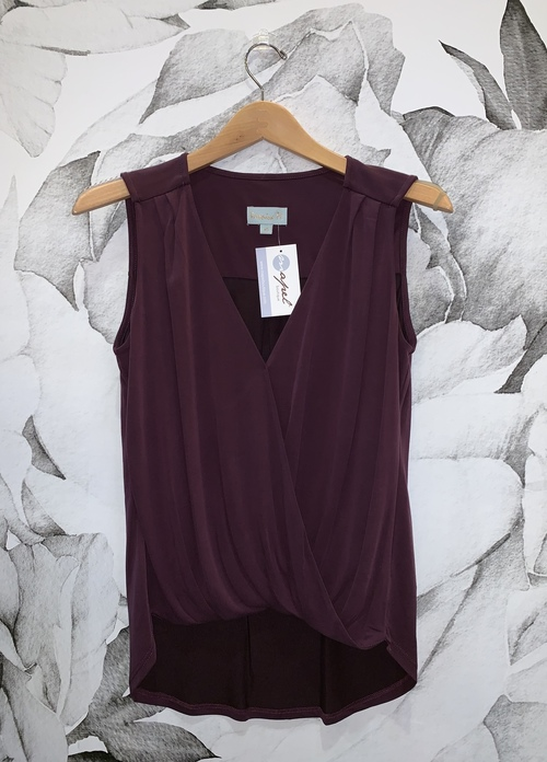 Eggplant Cupro Surplice Top