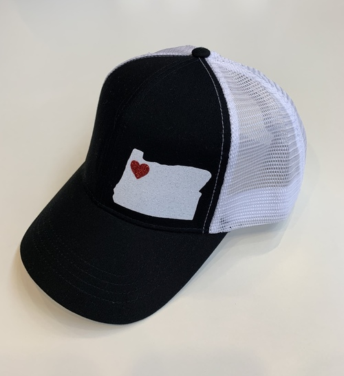 Hank Orange Black Hat w/ White OR & Red Heart