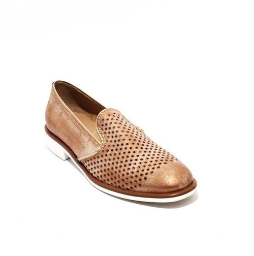 Bronze Leather / Perforated / Elastic Oxfords Shoes