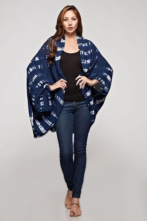 Indigo Tie Dye Kimono Wrap