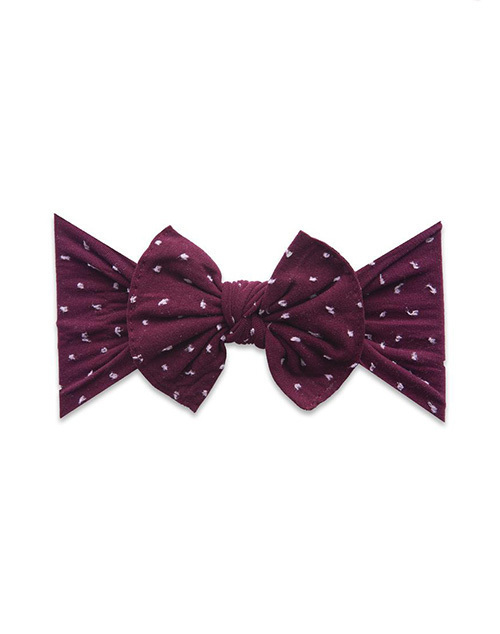 Pattern Shabby Knot Headband - Burgundy Dot