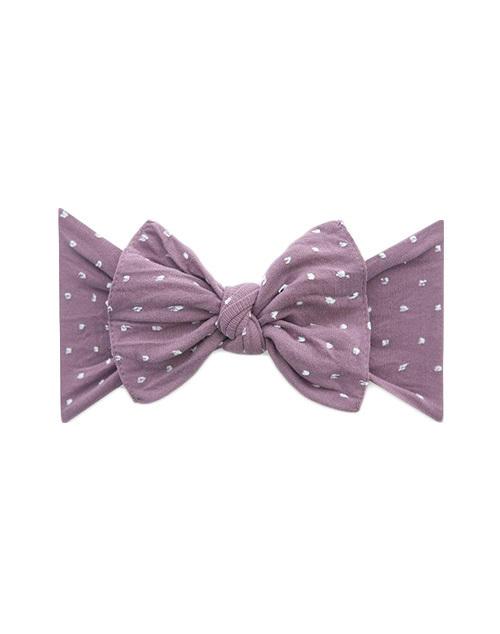 Patterend Shabby Knot Headband - Lilac Dot