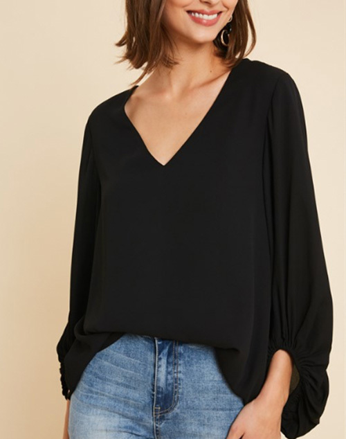 Balloon Sleeved V Neck Blouse