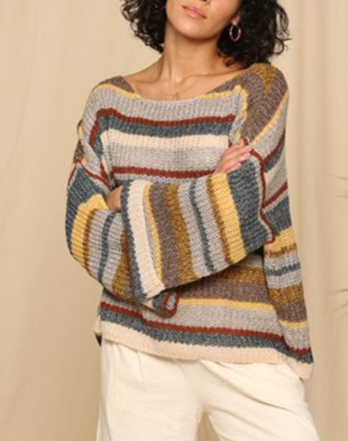 Multi Color Stripe Wonderland Knit Sweater